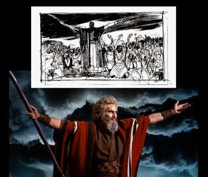 Mooses (Charlton Heston) elokuvassa Kymmenen käskyä, samassa kuvassa Harold Michelsonin luonnos kohtauksesta
