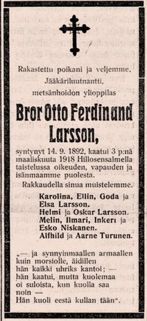 Kuolinilmoitus Savotar-lehdessä.