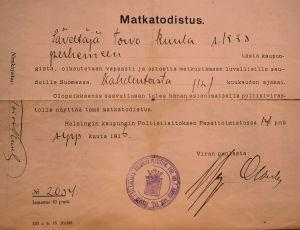 Toivo Kuulan matkatodistus vuodelta 1916.