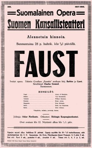 Gounod'n Faust-oopperan juliste 1918.