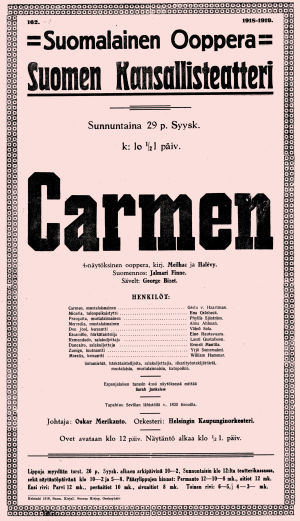 Bizet'n Carmen-oopperan juliste 29.9.1918.