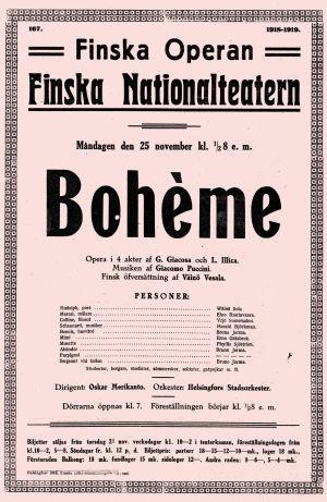 Puccinin La Bohème -oopperan juliste syksyltä 1918.