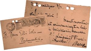 Aarre Merikannon kiitoskortti Elli Solalle 7.3.1918.