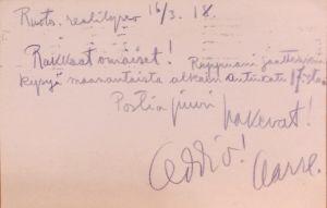 Aarre Merikannon kirje 16.3.1918.