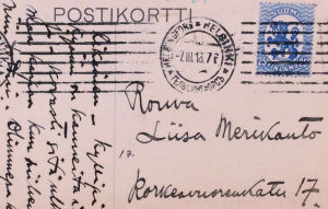 Aarre Merikannon kortti äidille vankilasta.