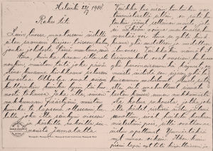 Knut Kankaan kirje äidille heinäkuun 22. päivänä 1914.