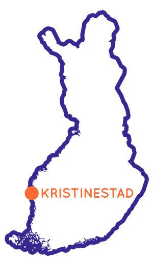 Karta över Finland som visar var Kristinestad är.