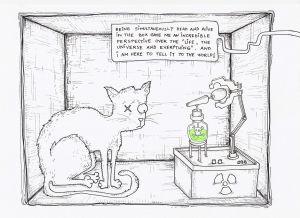 Shcrödingers katt enligt karikatyrist.