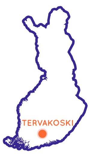 Finlands karta som visar Tervakoskis position.