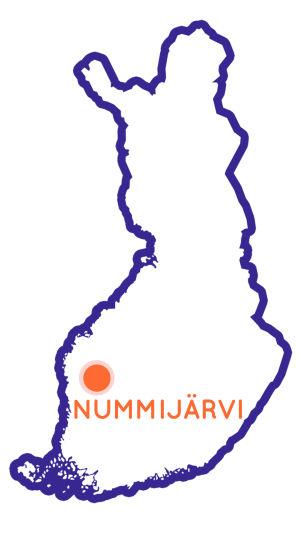 Finlands karta som visar Nummijärvis position.