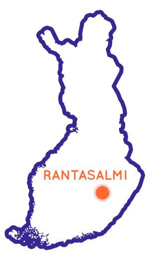 Finlands karta som visar Rantasalmis position.