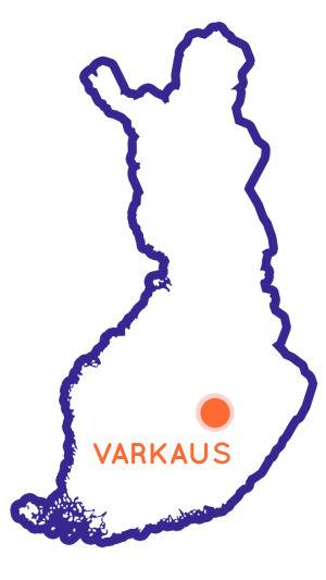 Finlands karta som visar Varkaus position.