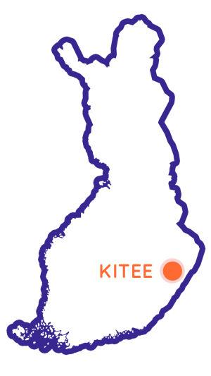 Finlands karta som visar Kitees position.