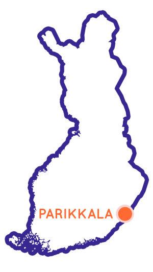 Finlands karta som visar Parikkalas position.