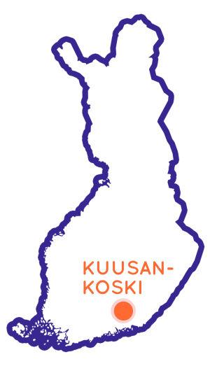 Finlands karta som visar Kuusankoskis position.