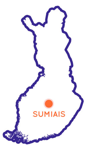 Finlands karta som visar Sumiais position.