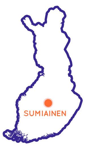 Finlands karta som visar Sumiainens position.