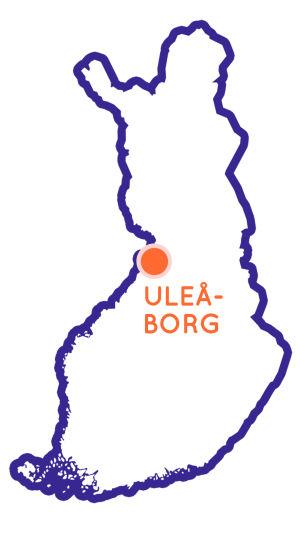 Finlands karta som visar Uleåborgs position.