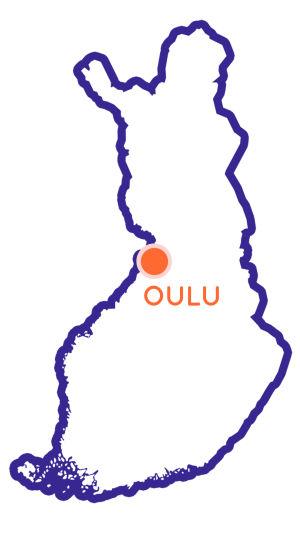 Finlands karta som visar Oulus position.
