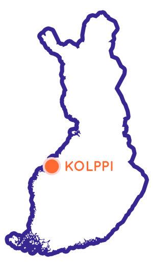 Finlands karta som visar Kolppis position.