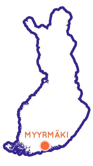 Finlands karta som visar Myyrmäkis position.