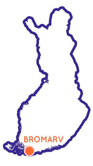 Finlands karta som visar Bromarvs position.
