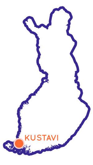 Finlands karta som visar Kustavis position.