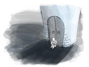 illustration av person som sitter olycklig utanför