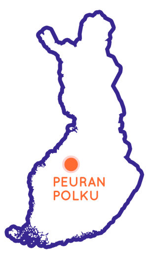 Finlands karta som visar positionen av vandringsleden Peuran Polku.