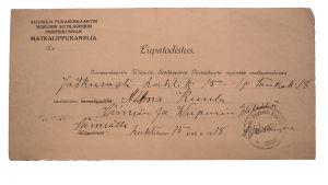 Alma Kuulan matkustuslupa, myönnetty 15. huhtikuuta.