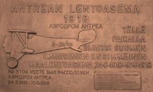 Muistolaatta, Antrean maalentoasema 1918.
