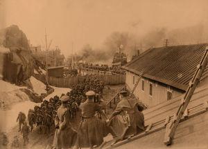 Saksalaisia sotilaita Hangossa huhtikuun alussa 1918.