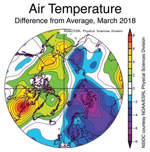 Värmefördelningen i Arktis i mars 2018.