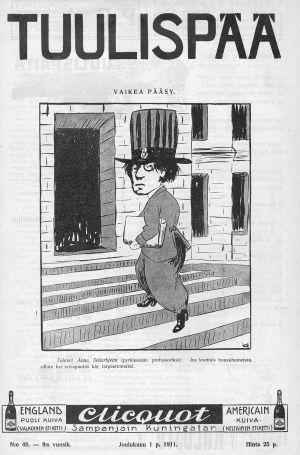 Skämtteckning med Alma Söderhjelm i tidskriften Tuulispää december 1911.