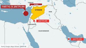 Karta över Syrien och västliga militärbaser i omgivningen.