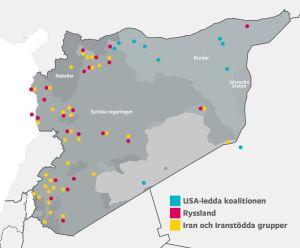Karta på Syrien som visar vart olika truppar är belägna