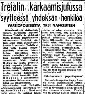 Ote Helsingin Sanomien uutisesta 5.11.1950.