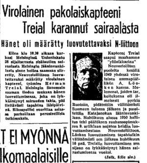 Ote Helsingin Sanomien uutisesta 13.10.1950.