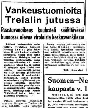 Ote Helsingin Sanomien uutisesta 3.12.1950.