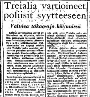 Ote Helsingin Sanomien uutisesta 15.10.1950.