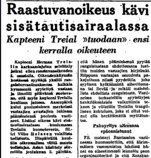 Ote Helsingin Sanomien uutisesta 19.11.1950.