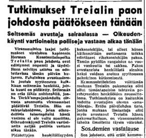 Ote Helsingin Sanomien uutisesta 21.10.1950.