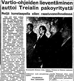 Ote Helsingin Sanomien uutisesta 22.10.1950.