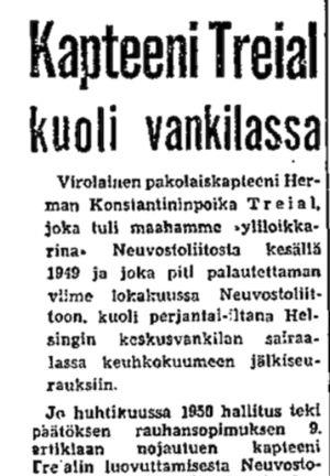 Ote Helsingin Sanomien uutisesta 11.2.1951.