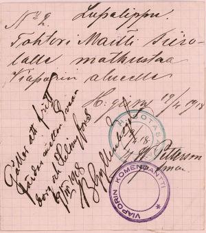 Kulkulupa Suomenlinnan vankileirille 1918.