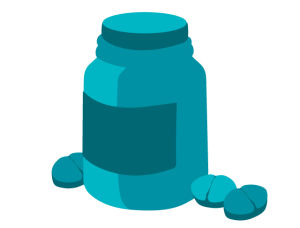 Kuvituskuva lääpurkista, jonka ympärillä on tabletteja