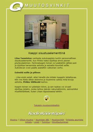 Kuvakaappaus muutosvinkistä Kodin kääntöpiirin nettisivustolla vuodelta 2001.