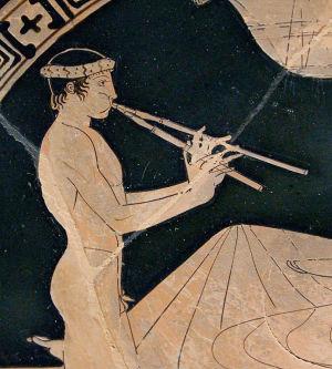 Satyr spelar aulos