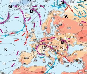 Väderleksprognos för Europa.