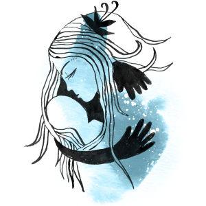 Kuvitus: Tyhjä syli - äiti suree menetettyä lasta
